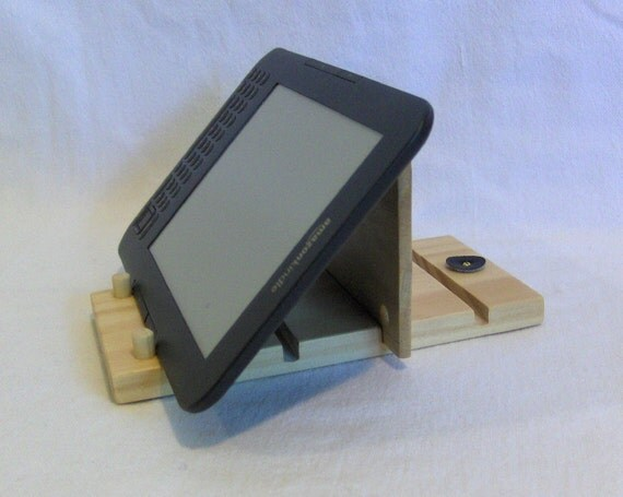 e/UP/Stand, Universal Portable Stand for Tablet, iPad, Kindle, Nook, eReader.  Adjustable Wood Stand with Natural Finish.