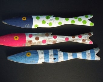 Set of 3 Fish Hand Painted Picket Fish Art Reclaimed Wood Beach Cottage Cabin Decor