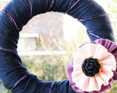 Wreath Blue, Purple and Pink Wreath, door decoration. Ready To Ship.