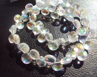 50% OFF SALE AAA White Mystic Topaz Faceted Heart Briolette Beads 5-6mm 2 Pieces...Luxe, High End, Weddings, Bridal, December Birthstone
