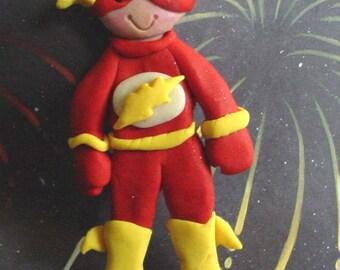 Flash Christmas Ornament Polymer Clay MIlestone Cake Topper Super Hero Graphic Novel Costume 1st