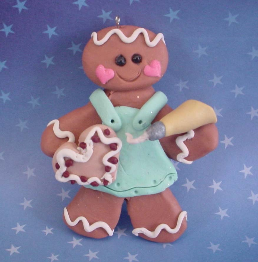 Polymer clay milestone christmas ornament ginger gingerbread