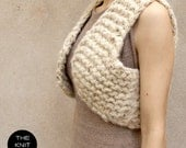 bulky knitted waistcoat cream beige giant knit the knit kid