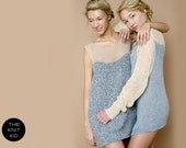 knitted dress cashmere mohair bulky nude grey theknitkid