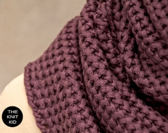 dusty plum merino extrafine loop snood scarf cowl shawl infinity scarf the knit kid