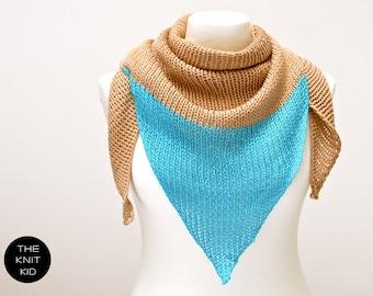 triangle scarf merino beige neon turquoise triangular shawl theknitkid