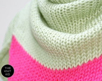 THE KNIT KID pastel green pink triangle scarf merino theknitkid