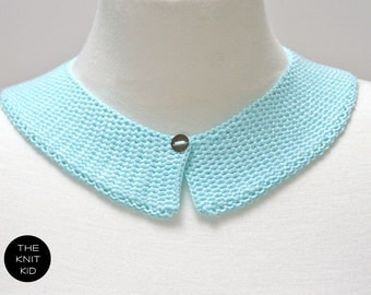 knitted collar pastel light turquoise cotton theknitkid