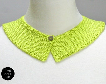 knitted collar neon yellow green lime viscose theknitkid