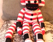 Christmas Sock Monkey  Noelle red, white, black,silver handmade