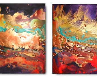 Original Landscape Art by Caroline Ashwood - Textured and contemporary abstract painting on canvas - Ready to hang