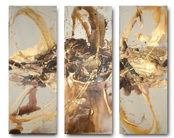 Original XL set of Art by Caroline Ashwood- Floral and contemporary abstract paintings on canvas - FREE SHIPPING