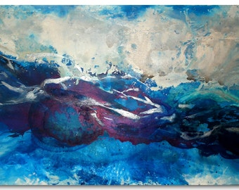 "Original 48"" Huge Seascape Art by Caroline Ashwood - Textured and contemporary abstract painting on canvas - FREE SHIPPING"