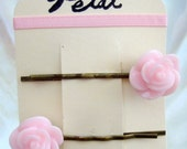 Rose resin hair clips bobby pins - PALE PINK - choose from Bronze or Silver clips (Petal : The Original Collection)