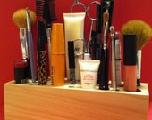 NATURAL Finish-Handmade Wooden Makeup Brush Holder & Bathroom Organizer