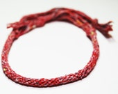 Bracelet Eco Friendly Kumihimo Recycled Fibre Red Jewelry