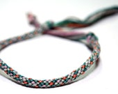 Kumihimo Bracelet Cotton Fiber Grey, Turquoise, Pink & Orange Jewelry