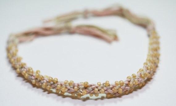 Natural Bracelet Eco Cotton Kumihimo Braid Beige Beaded Jewelry