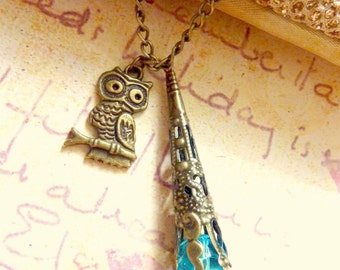 Owl necklace brass charm vintage pendant brass chain with filigree blue bead