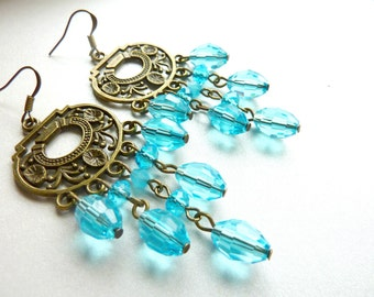 Chandelier earrings aqua blue drop vintage crystal earrings