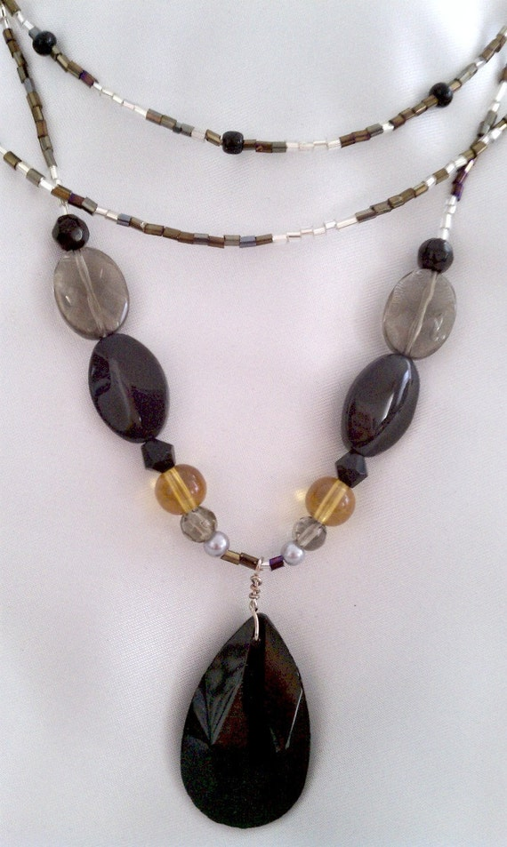 MARKDOWN-Earth Tones Ethnic Influence Multi-Strand Necklace with Black Pendant & Earring Set