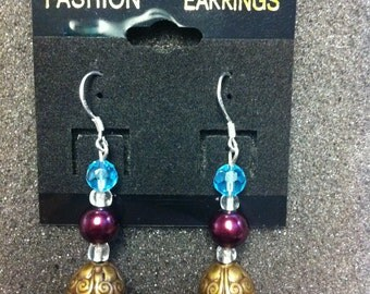 NEW Hand Crafted Sterling Silver Multi-Colored Earrings