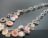 Vintage Sterling Silver Charm and Button Necklace