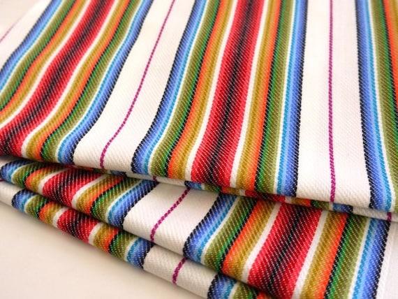 Tribal Fabric, Latin American Woven Fabric, Navajo, Ethnic, Red Colorful Stripes, 1 yard x 0.8 yard