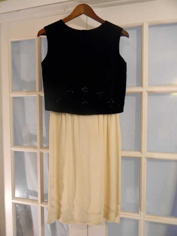 SALE  50s Early 60s Black & Cream 2 Piece Beaded Top Vintage Mad Men Mod Cocktail Dress