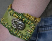 Felted Cuff Embroidered Bracelet  Upcycled Button, One of a Kind, Earthly an Unique,  Greens