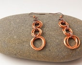 Copper Circle Earrings with Gunmetal Accents