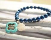 Lucky turquoise clover jade blue bracelet