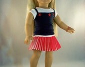 Red and white pleated skirt with 2 tops and shoes for American girl dolls by MI GURLZ CLOTHING