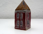 Pink Stoneware House With Rust Colored Roof.Miniature Ceramic House.OOAK: