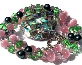 Mosaic Paua Necklace, Swarovski, Pearls, Multicolored