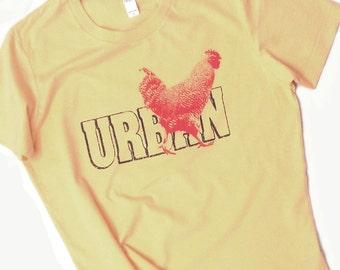 Urban Chicken T Shirt- Ladies Tee- Backyard Farm Homesteading Hen Rooster Women's Tshirt- chicken shirt