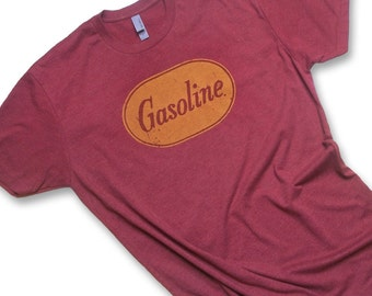 Vintage Gas Can Label- Retro Gasoline Hot Rod T Shirt- Mens / Unisex Tee Red & Yellow