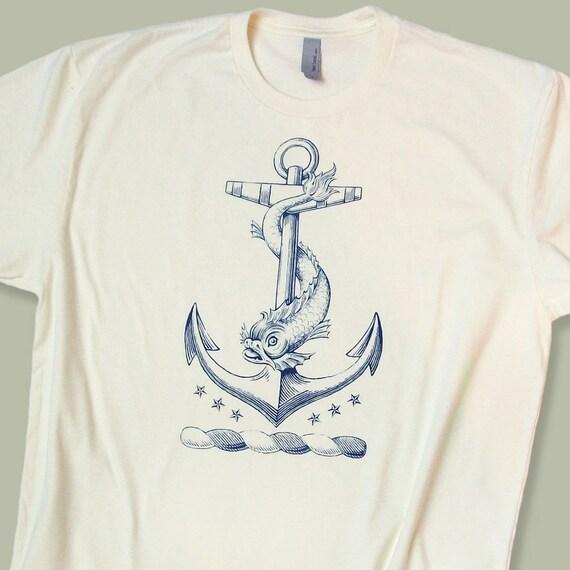 Nautical Anchor Tattoo T Shirt Men's / Unisex & Ladies Tee Navy