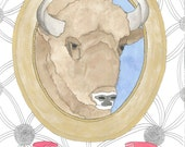 March 31, 2012 (Caucasian Wisent) - original ink and watercolor drawing