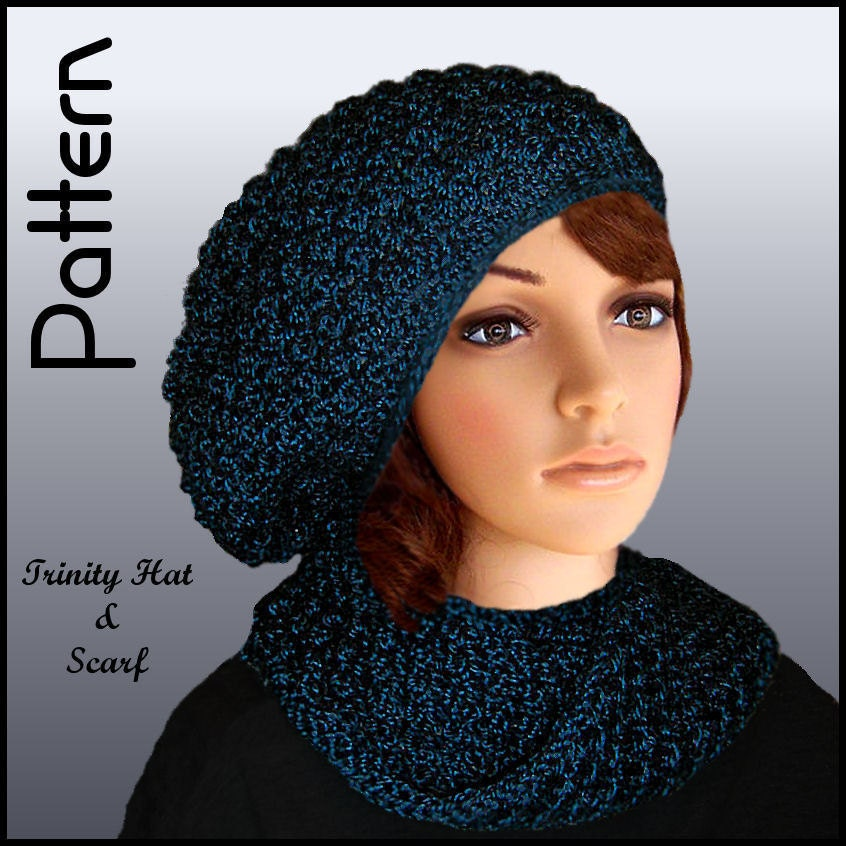 Items similar to Hat Knitting Pattern, Slouchy hat and Scarf set. Women, Ladi...