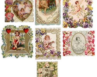 7 VALENTINE HEAVEN CUPIDS Superb Embossed Antique Edwardian/Victorian c.1900
