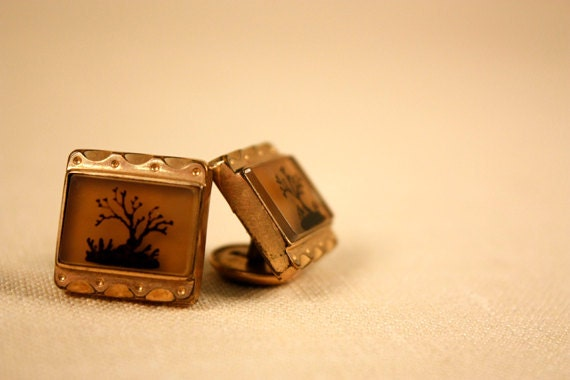 Vintage Hand Painted Amber and Gold Cuff Links - ac0005