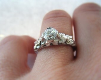 Diamond Solitare Engagement Ring 14K White Gold Hand Engraved Antique Inspired