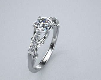 Diamond Solitare Engagement Ring Pave Diamonds 14K White Gold Customizable