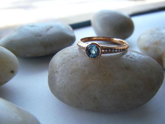 Aquamarine Engagement Ring 18k Rose Gold Pave Diamonds