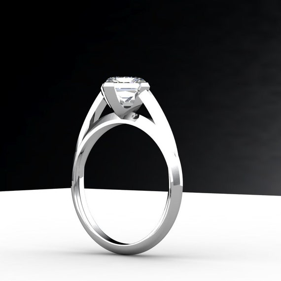 Solitare Engagement Ring 14K White Gold Customizable