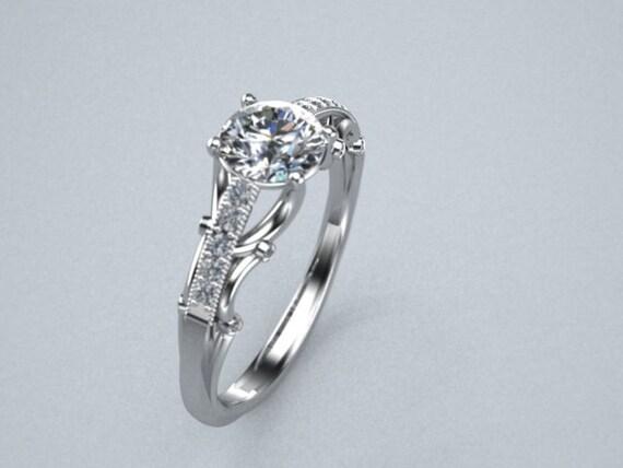 Diamond Solitare Engagement Ring Pave Diamonds 14K White Gold Customizable