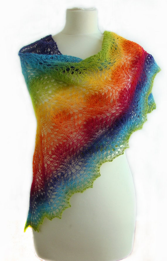 "Beautiful lace handknitted shawl in the colors of the ""rainbow"""