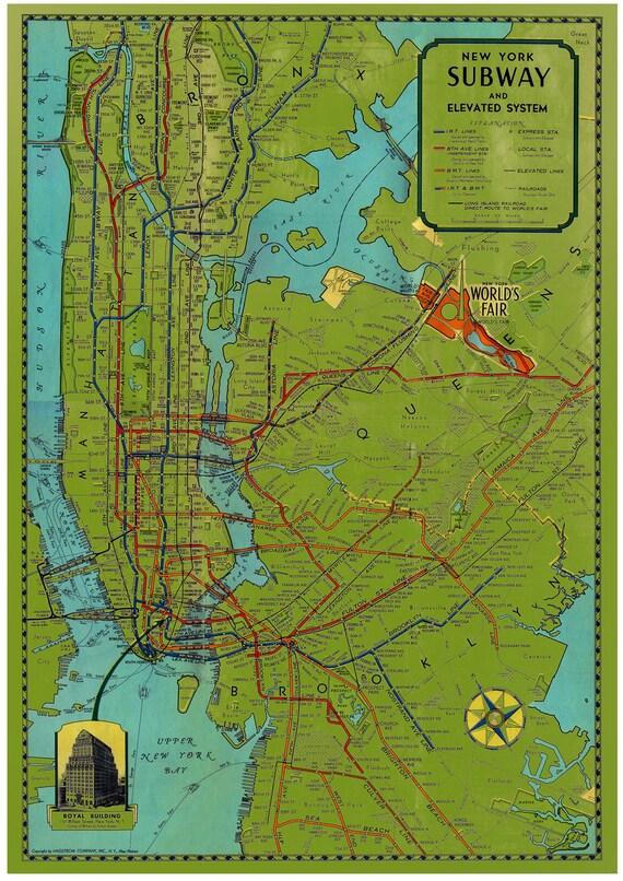 LARGE VINTAGE  New York Subway Map