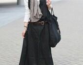 Black Linen Halter Long Dress/ Maxi Sundress - Custom Made